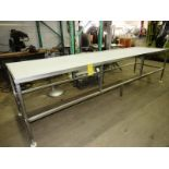 Lot 32 - Stainless Steel Table, 3' W X 12' L with 3 sections, poly top