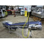 "Lot 4 - Stainless Steel Incline Conveyor, 12"" W X 9' L cleated belt, 16"" infeed height, 44"" discharge,"