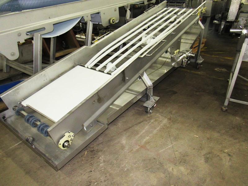 "Lot 55 - Stainless Steel Incline Conveyor, 32"" W X 12' L (no belt), 3/4 h.p. S/S 208/230/460 volt motor, drip"