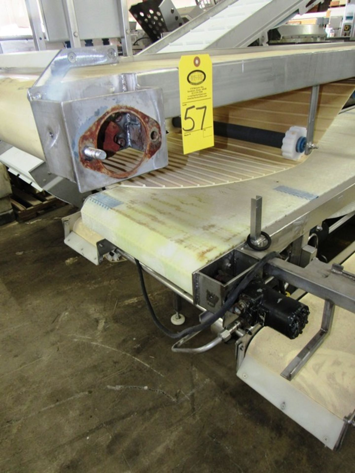 "Lot 57 - Stainless Steel Pack-Off Conveyor, double belt, 24"" W X 17' L neoprene top belt, 24"" W X 18' L"