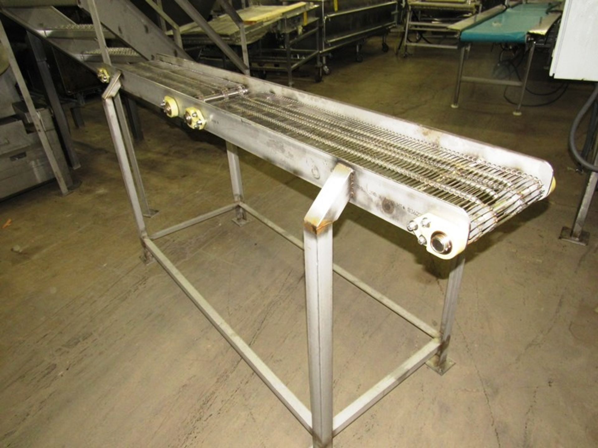 """Lot 30 - Stainless Steel Conveyor, 12"""" W X 90"""" L (2 belts 39"""" L) with 5"""" space between, no drive"""