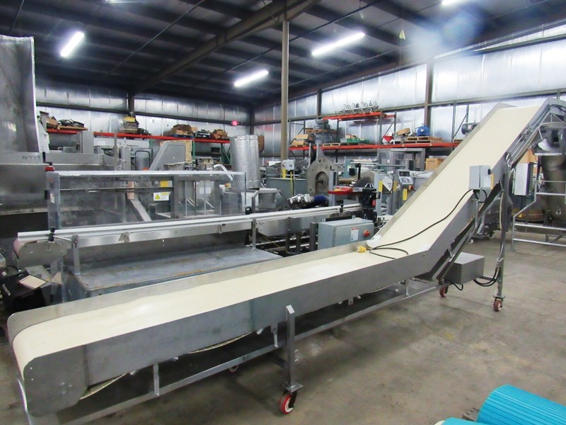 "Lot 14 - Stainless Steel Incline Conveyor, 24"" W X 22' L neoprene belt, 27"" infeed height, 8' discharge, on"