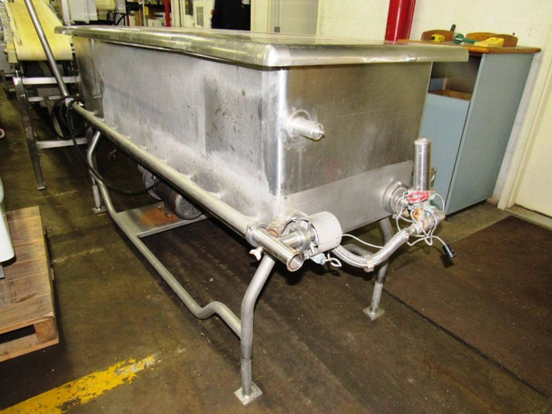 "Lot 23 - Sani-Matic Mdl. RJW-150 Stainless Steel COP Tank, 24"" W X 74"" L X 21"" D, 9 sprayers each side,"