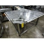 "Lot 20 - Stainless Steel Conveyor, 43"" W X 7' L stainless steel ladder chain belt, .75 h.p., 230/460 volt"