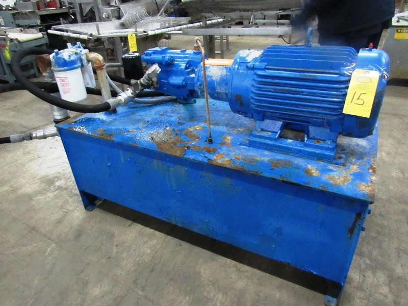 "Lot 15 - Hydraulic Power Pack, 26"" W X 60"" L X 17"" D reservoir, 25 h.p., 230/460 volt motor on pump"