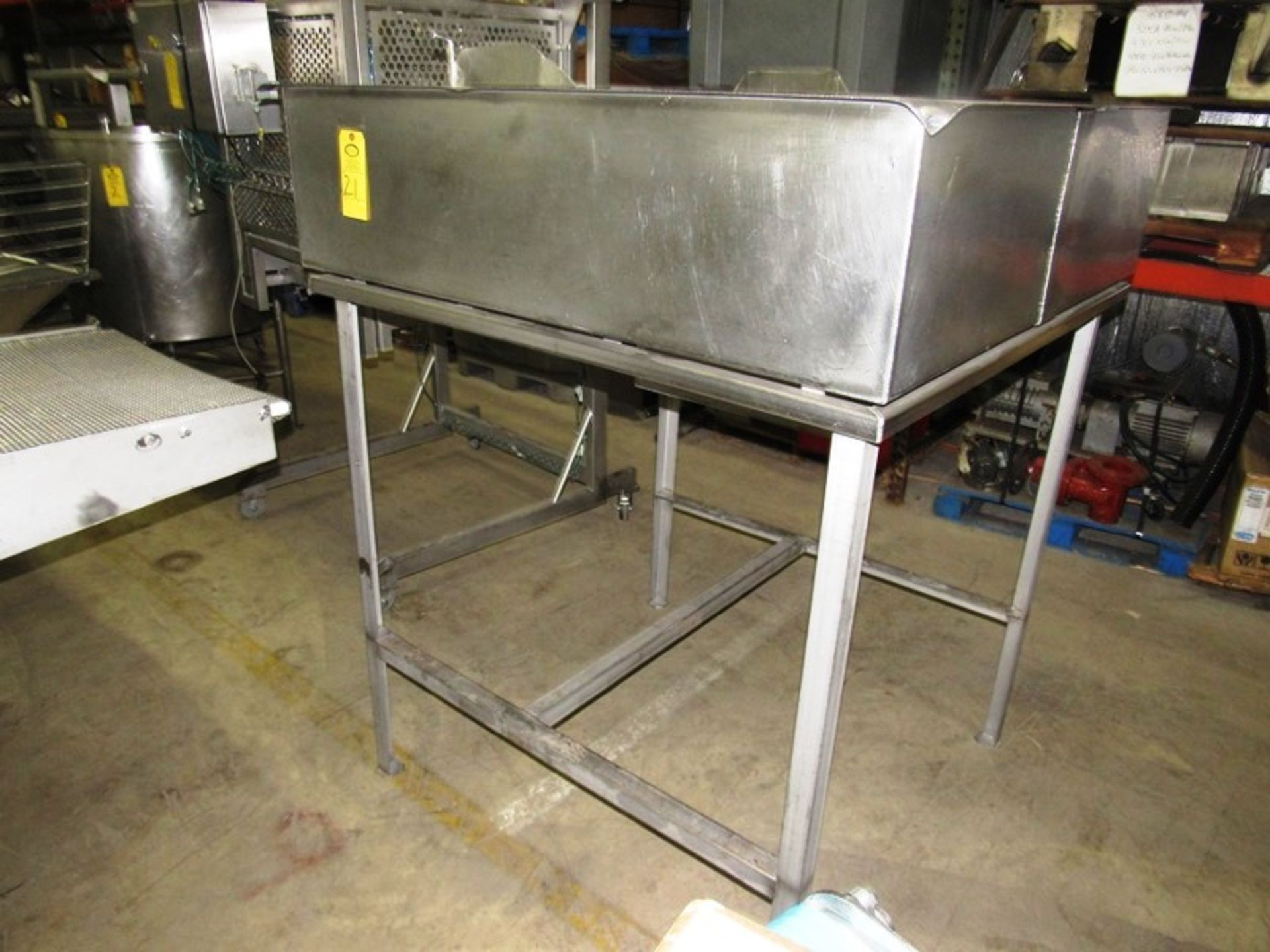 "Lot 21 - Stainless Steel Hopper, 52"" W X 53"" L X 14"" D with bottom outlet, 68"" T overall"