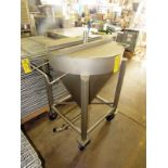 """Lot 59 - Stainless Steel Tank, 32"""" Dia. X 40"""" D tapered, 1"""" top valved inlet, 2"""" bottom outlet on wheels"""