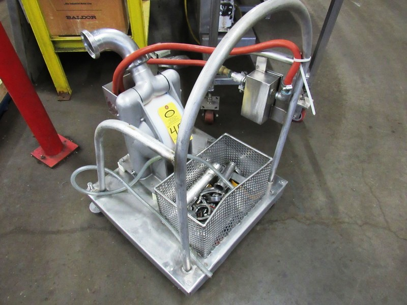 """Lot 45 - Almatec Mdl. AD50SSEE-R Air Operated Dual Diaphragm Pump on stainless steel cart, 3"""" inlet/outlet"""