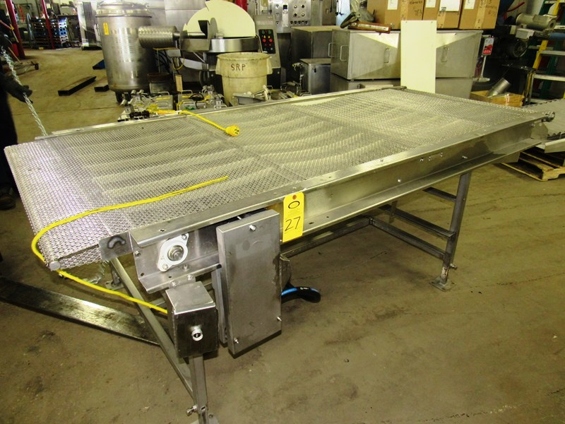 "Lot 27 - Stainless Steel Conveyor, 39 1/2"" W X 104"" L stainless steel mesh belt, hydraulic drive"