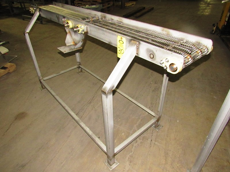 "Lot 30 - Stainless Steel Conveyor, 12"" W X 90"" L (2 belts 39"" L) with 5"" space between, no drive"