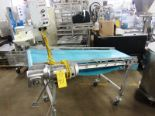 "Lot 41 - Stainless Steel Incline Conveyor, 20"" W X 66"" neoprene belt, adjustable height on wheels, 1/2 h."