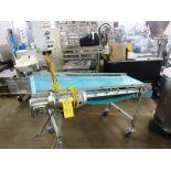 "Lot 41 - Stainless Steel Incline Conveyor, 20"" W X 66"" neoprene belt, adjustable height on wheels, 1/2 h."