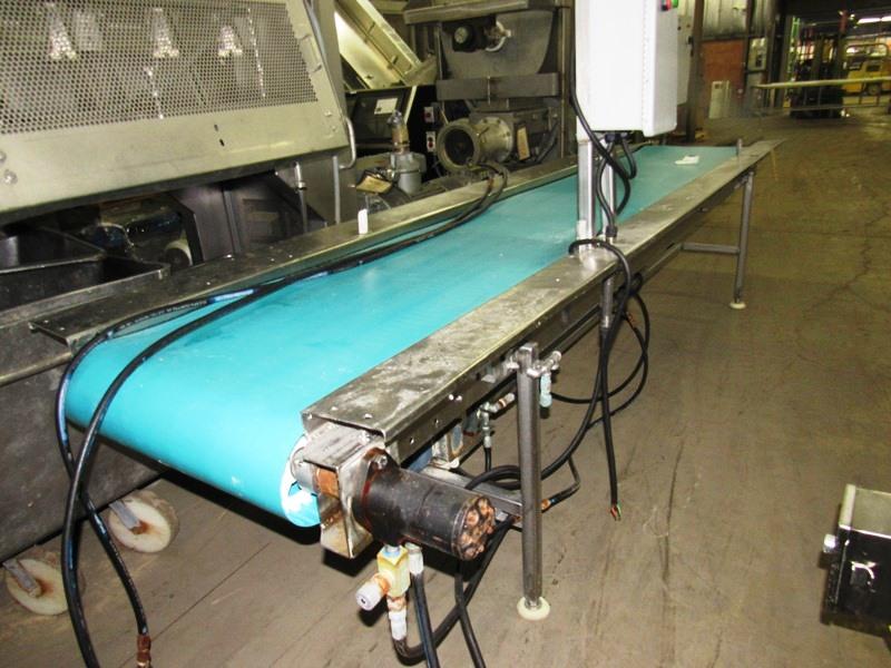 """Lot 28 - Stainless Steel Conveyor, 24"""" W X 12' L neoprene belt, hydraulic drive, controls"""