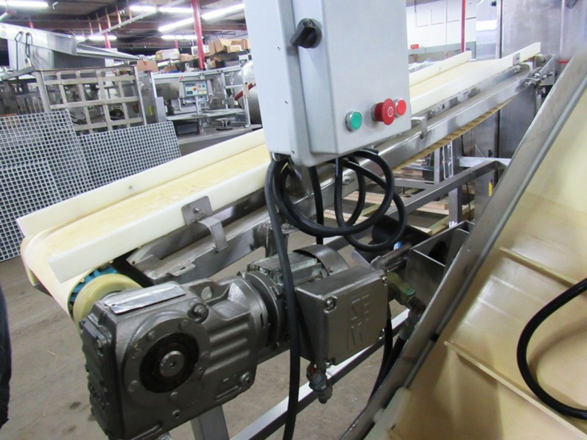 "Lot 42 - Stainless Steel Conveyor, 12"" W X 6' L neoprene belt, adjustable incline to flat, 230/460 volt"
