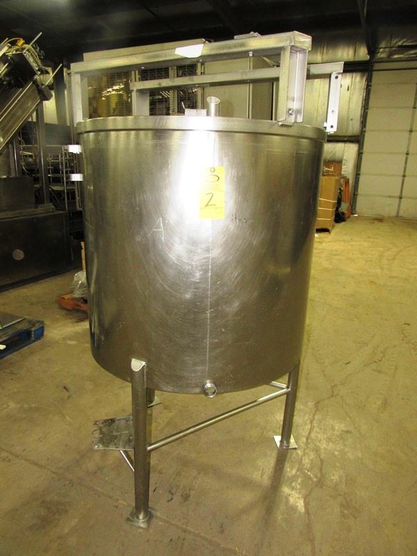 "Lot 2 - Stainless Steel Mix Tank, 37 1/2"" Dia. X 36"" D, flat bottom, top mounted mixer bridge, 1 1/2"" bottom"