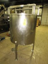 "Lot 2 - Stainless Steel Mix Tank, 37 1/2"" Dia. X 36"" D, flat bottom, top mounted mixer bridge, 1 1/2"" bottom"