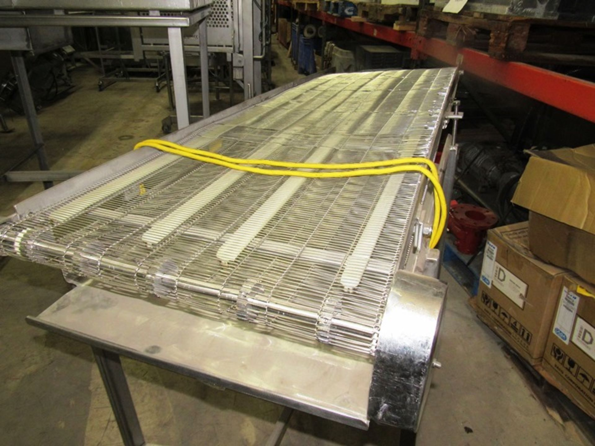 """Lot 18 - Stainless Steel Conveyor, 24"""" W X 76"""" L stainless steel ladder chain belt on wheels, 115 volts"""
