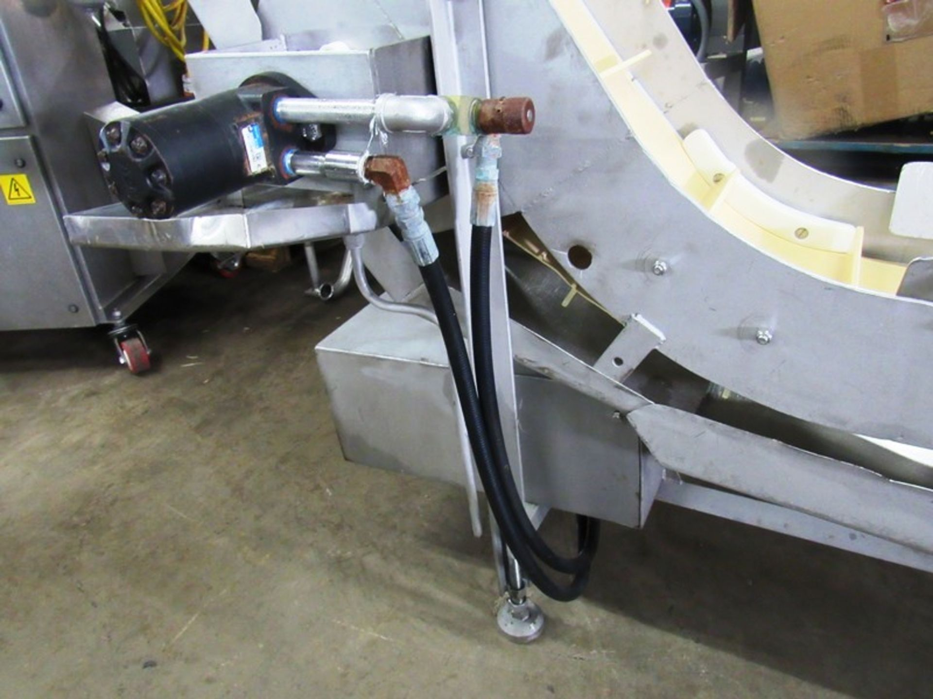 """Lot 44 - Stainless Steel Incline Conveyor, 12"""" W X 89"""" L flighted belt, 2"""" high flights, spaced 8"""" apart"""