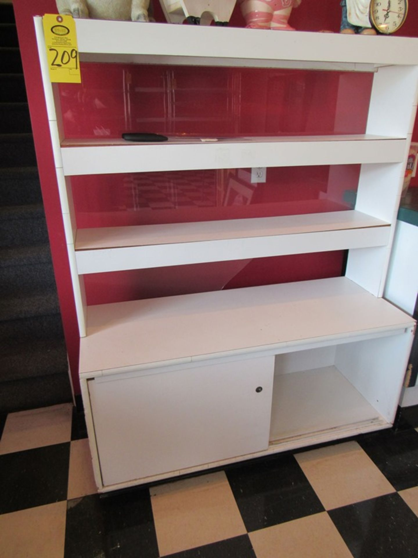 """Lot 209 - Wood Cabinet, 4' W X 18"""" D X 62"""" T (All Funds Must Be Received by Friday, August 9th. Everything Ha"""