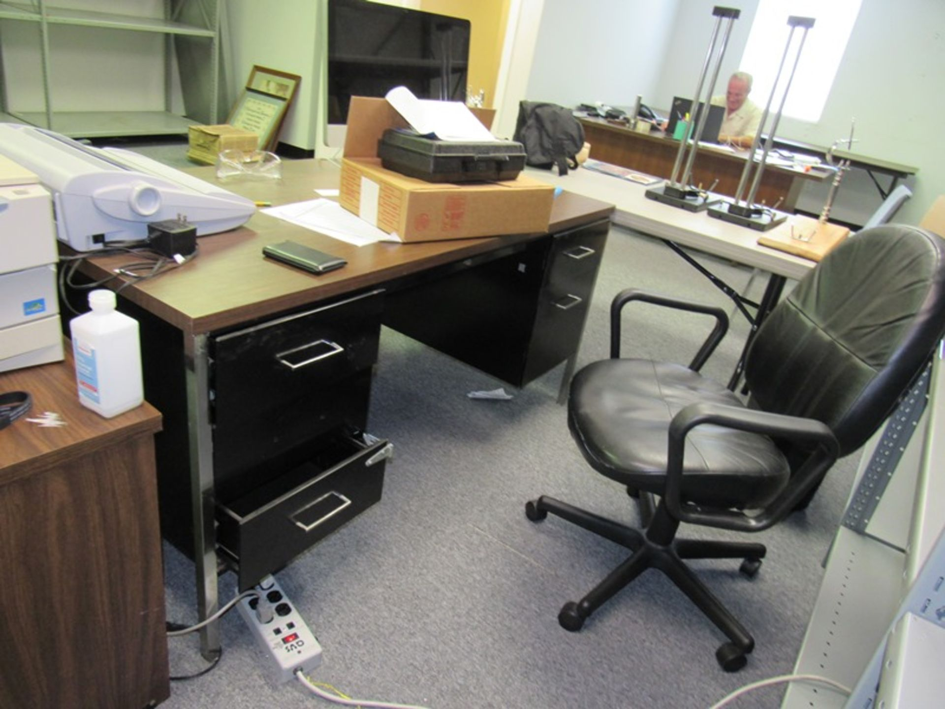 Lot 219 - Lot of (3) Office Desks, (3) Folding Tables, (4) Chairs, Canon PC940 Copier, Brothers Typewriter, (