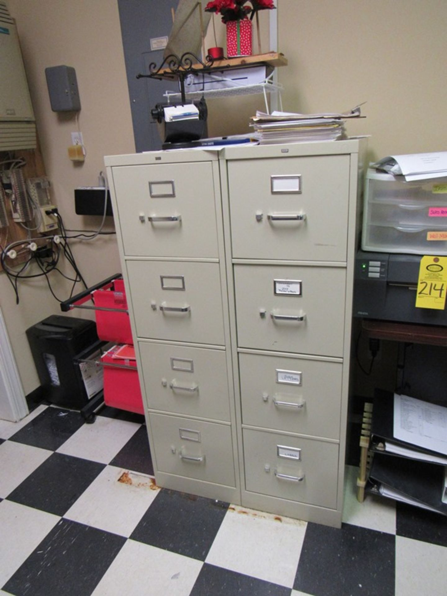 Lot 217 - Lot of Office Contents: Desk, Side Board, (3) Chairs, 6' Folding Tables, Bookcase, (2) File (All Fun