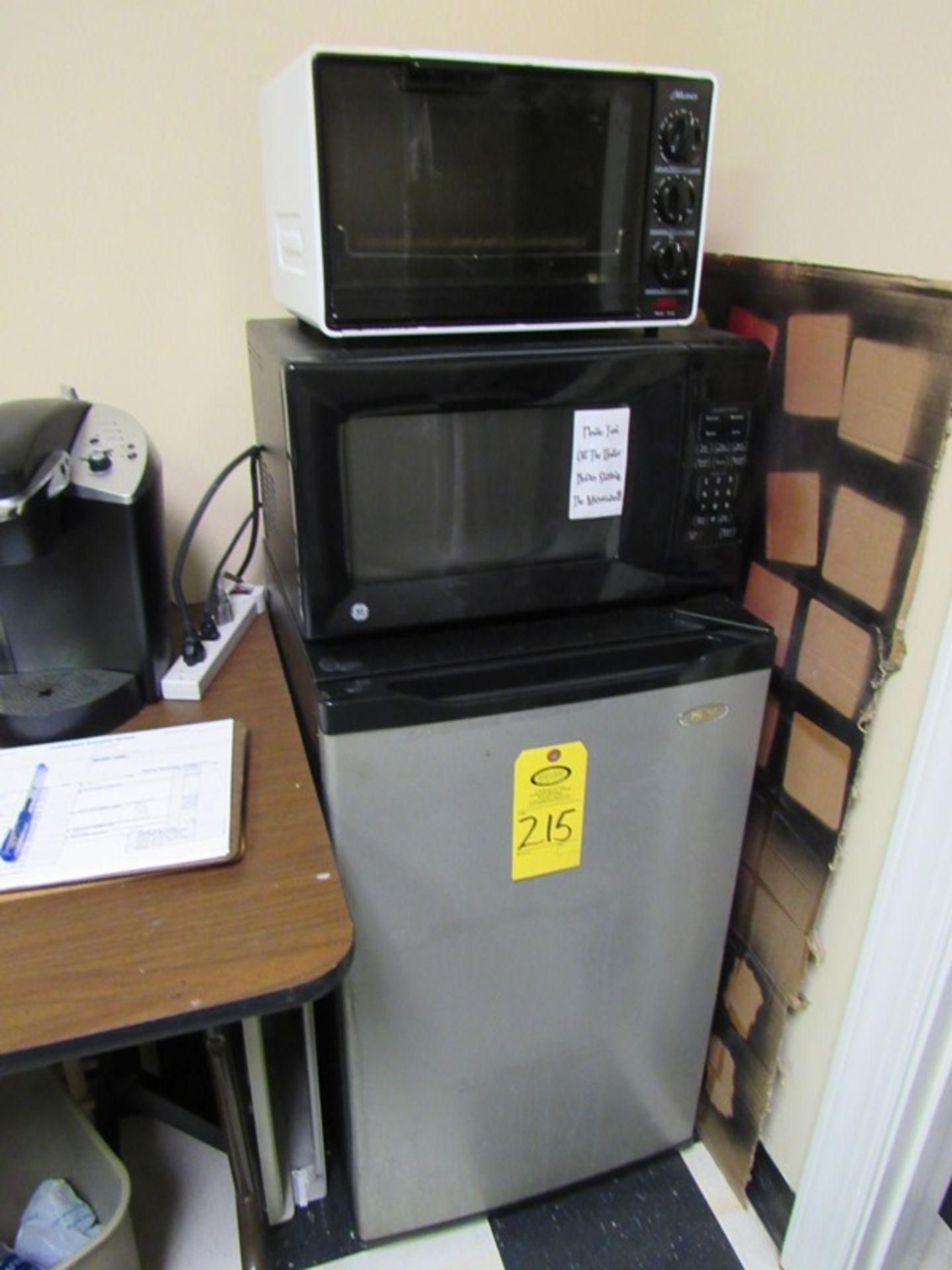Lot 215 - Lot of Haier Mini Fridge , G.E. Microwave, Muncey Toaster Oven (All Funds Must Be Received by August