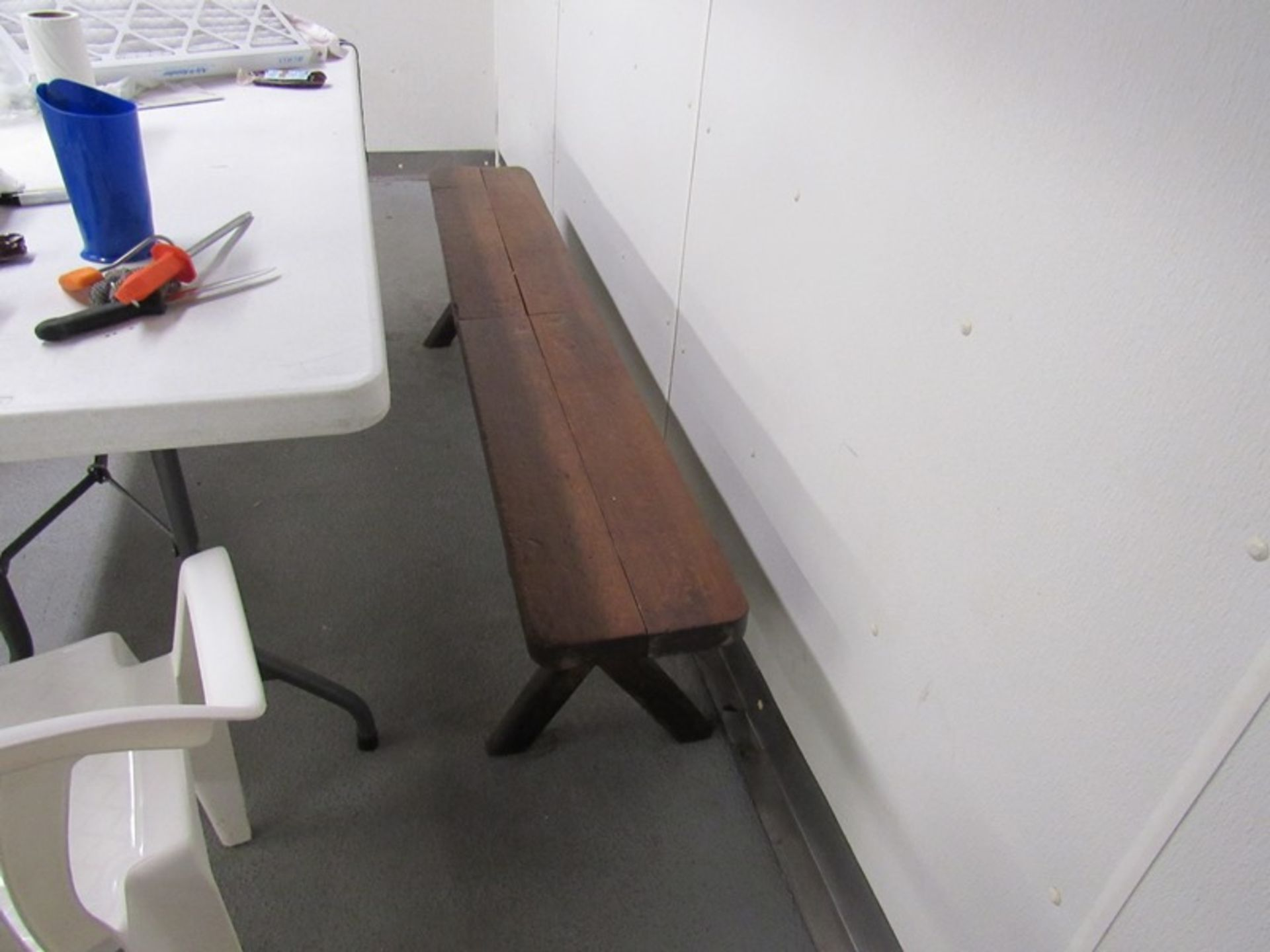 Lot 174 - Lot of Offices in Plant/Cafeteria, (2) Desks, Table, (3) Chairs, (2) Plastic Tables, 6' 8', (2) Plas