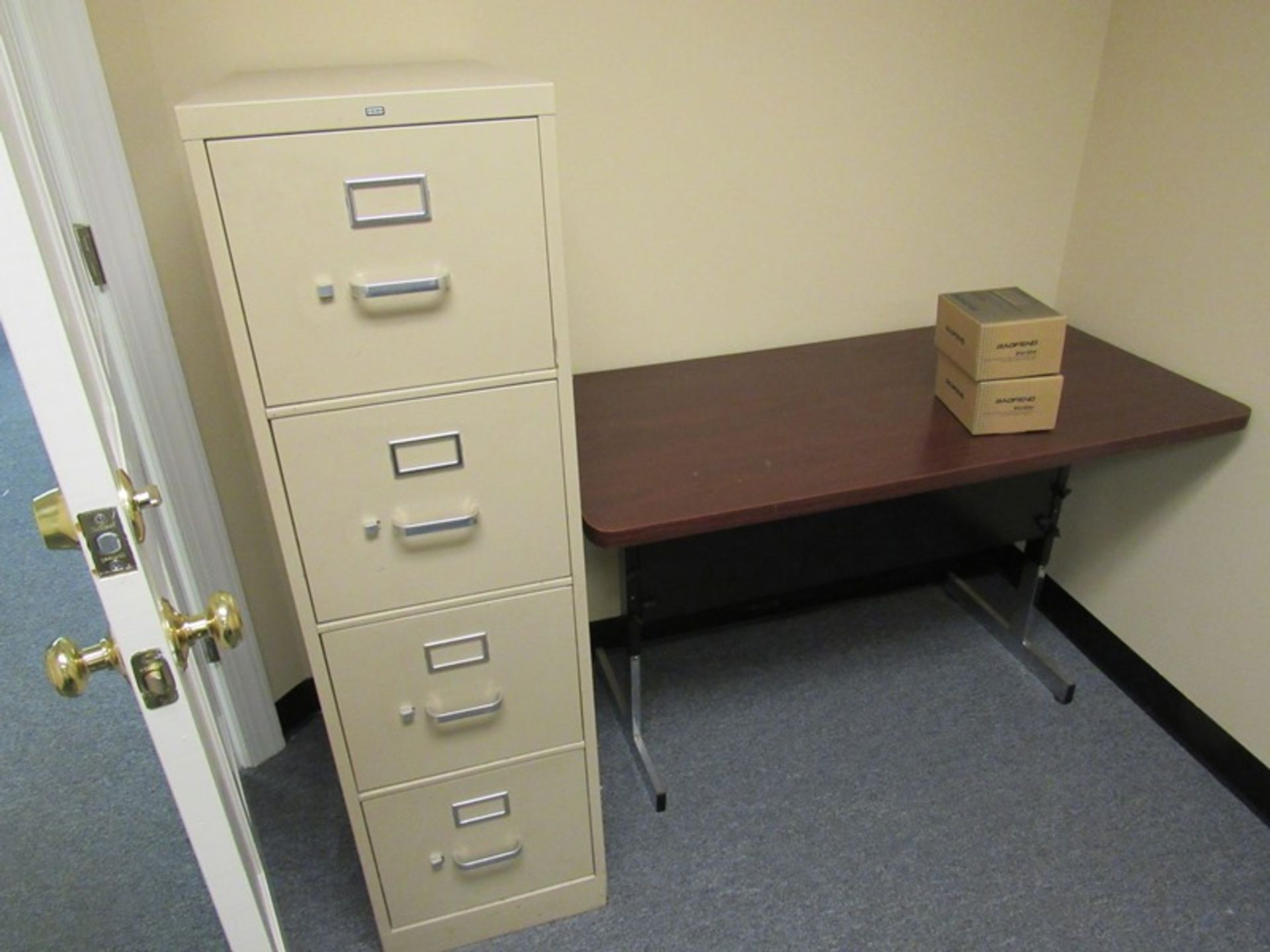 Lot 220 - Lot of (2) Tables, (2) Bookcases, (1) 4 Drawer File Cabinet (All Funds Must Be Received by Friday, A