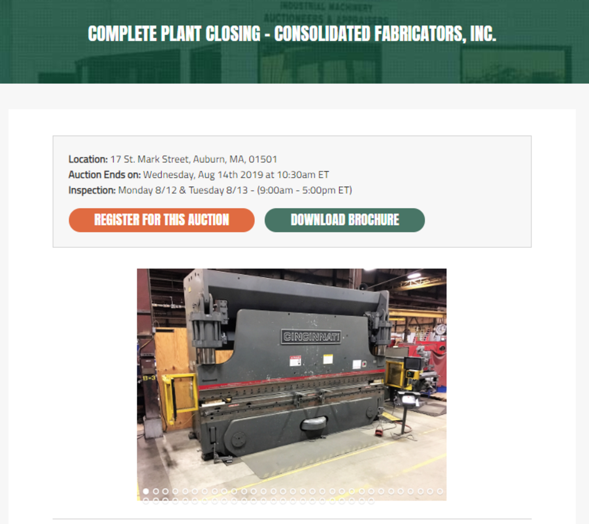 Lot 1 - This auction is conducted on DeCosmo Industrial Auctions website.
