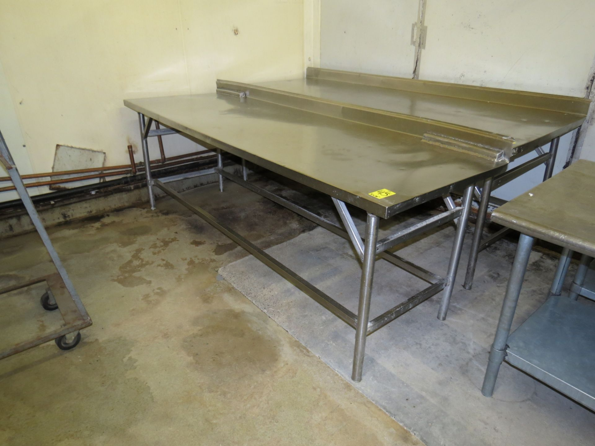 Lot 45 - STAINLESS STEEL TABLE 8 ' X 30""