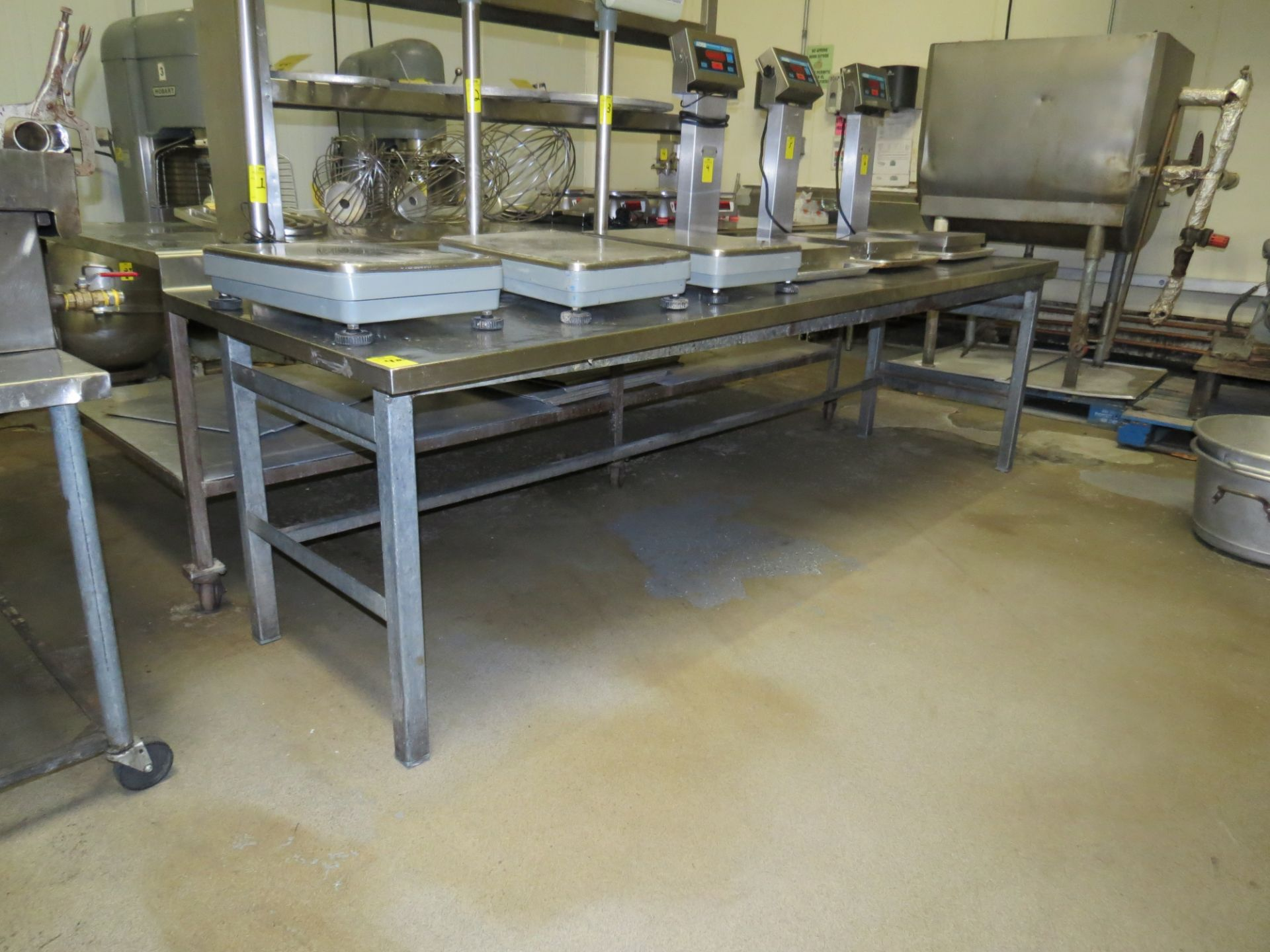 Lot 42 - STAINLESS STEEL TABLE APPROX. 3FT X 10FT