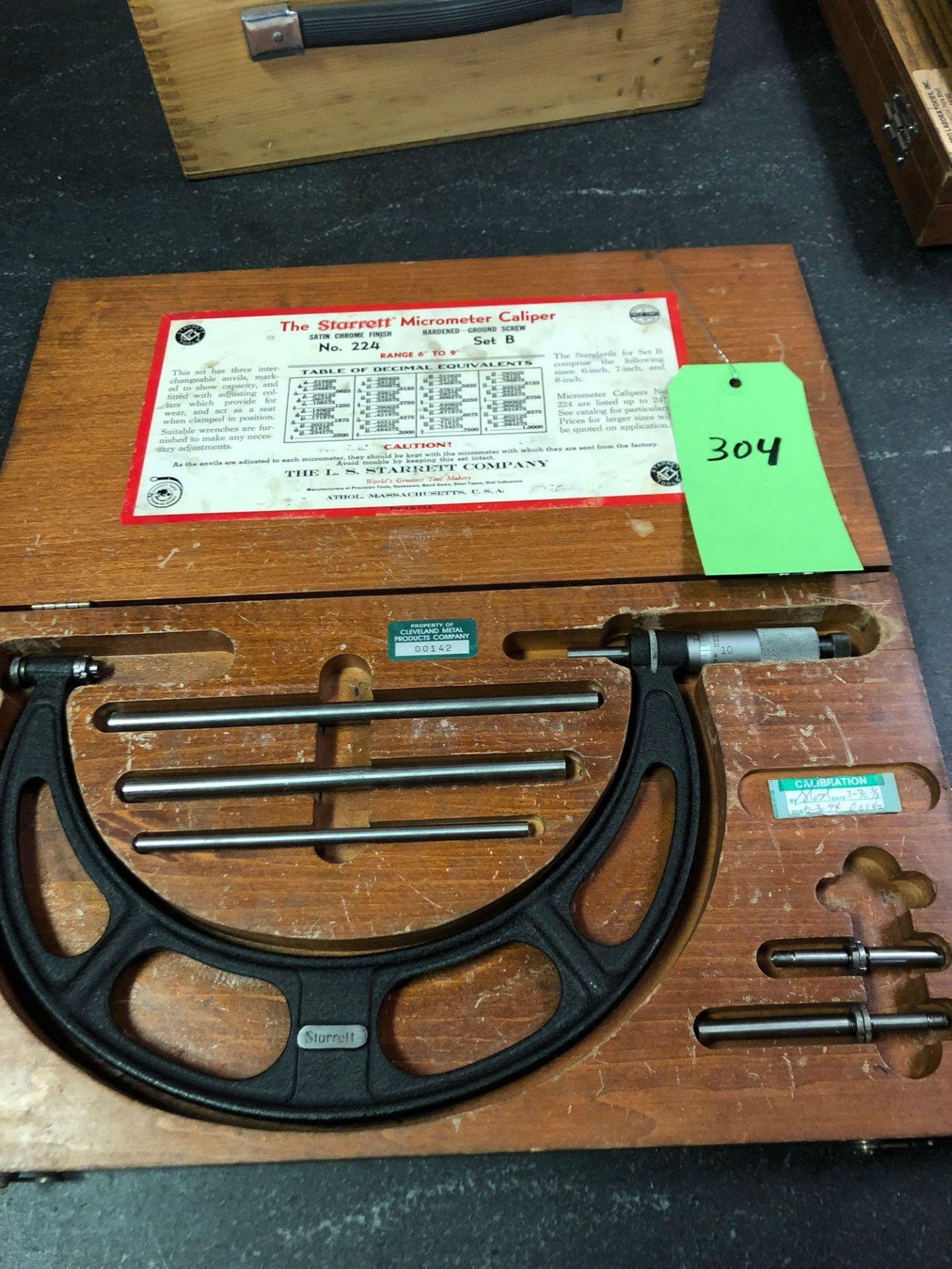 Lotto 304 - Starrett Micrometer Caliper #224 Set B