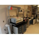 """Lot 850 - Lot of (2) Kewaunee Scientific lab tables, mobile with electric plug panels, 6' X 31"""", located C"""
