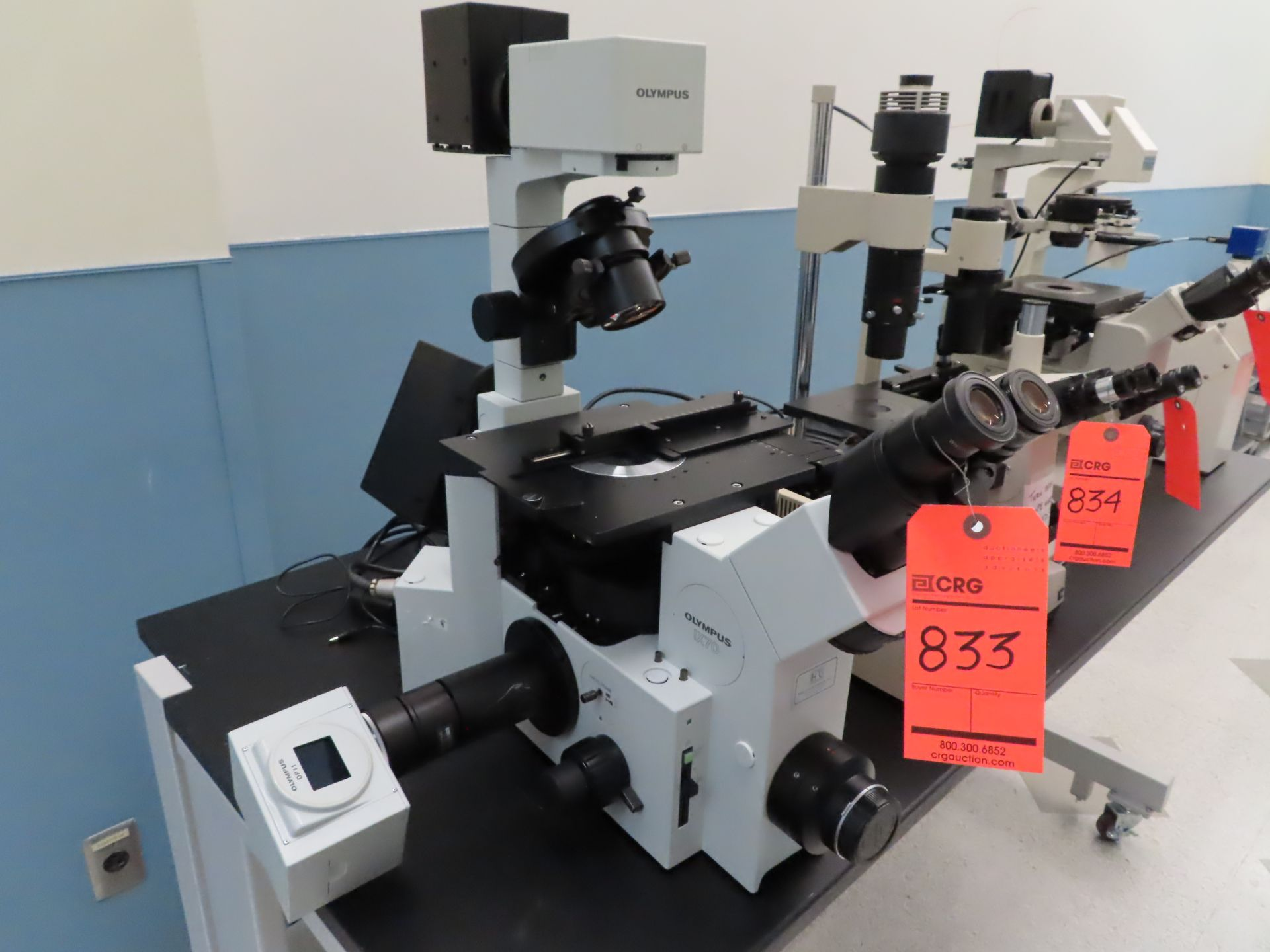 Lot 833 - Olympus IX50 inverted system microscope, s/n AX7066, with light source and Olympus DP11, located B