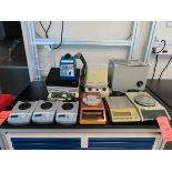 Lot including: (3) assorted scales, water bath, centrifuge, (4) stirrers, (2) PH analyzers,