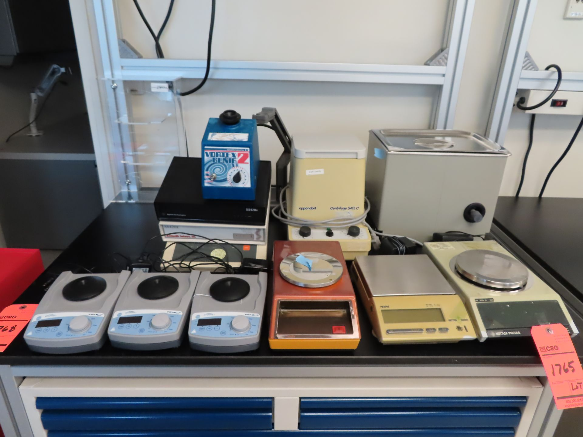 Lot 1765 - Lot including: (3) assorted scales, water bath, centrifuge, (4) stirrers, (2) PH analyzers,