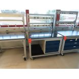 Lot of (11) rolling lab tables with drawers and electric plug panels, located in B wing, 4th