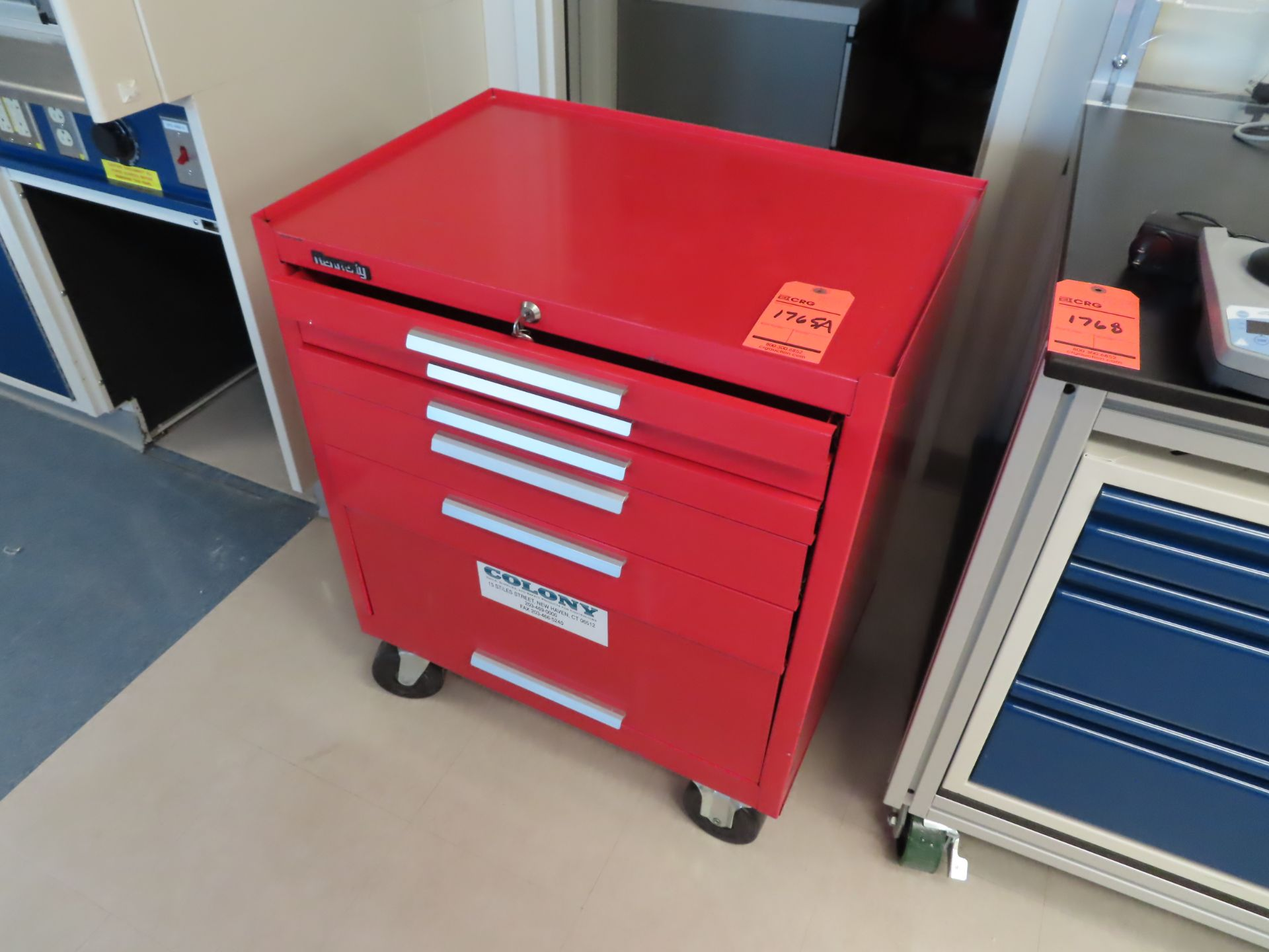 Colony 6 drawer rollig tool chest, located in B wing, 4th floor, room 449L