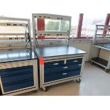 Lot of (5) rolling lab tables with drawers and electric plug panels, located in B wing, 4th floor,