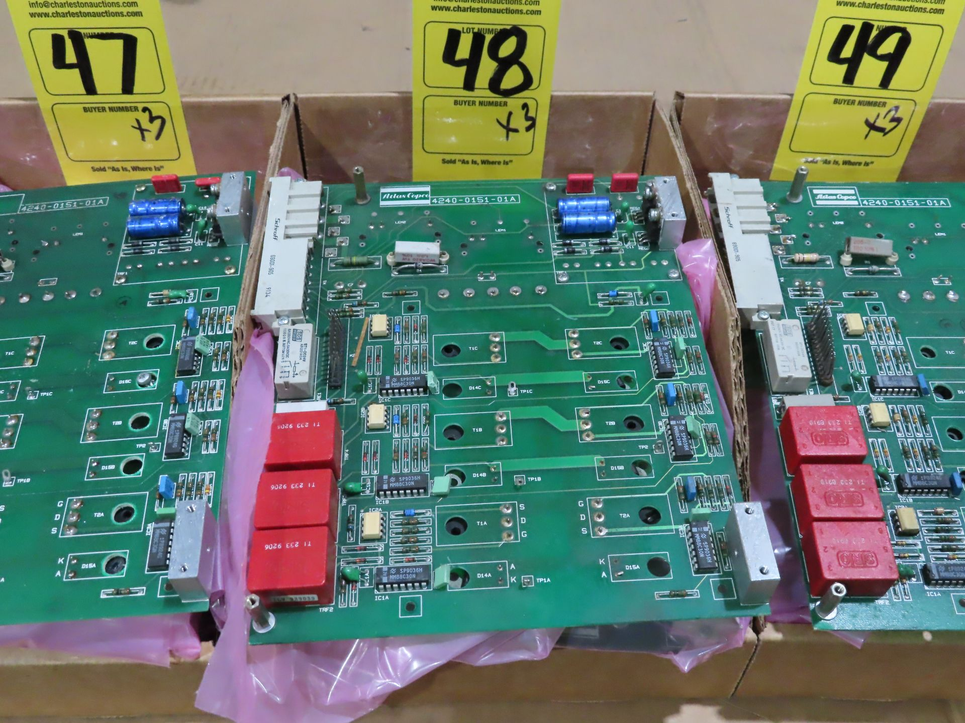 Lot 48 - Qty 3 Altas Copco model 4240-0151-01A replacement servo amp replacement board, as always, with