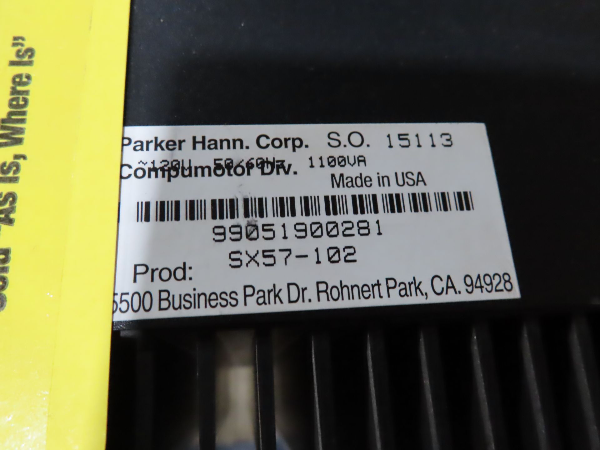 Lot 113 - Parker Compumotor model SX57-102, as always, with Brolyn LLC auctions, all lots can be picked up