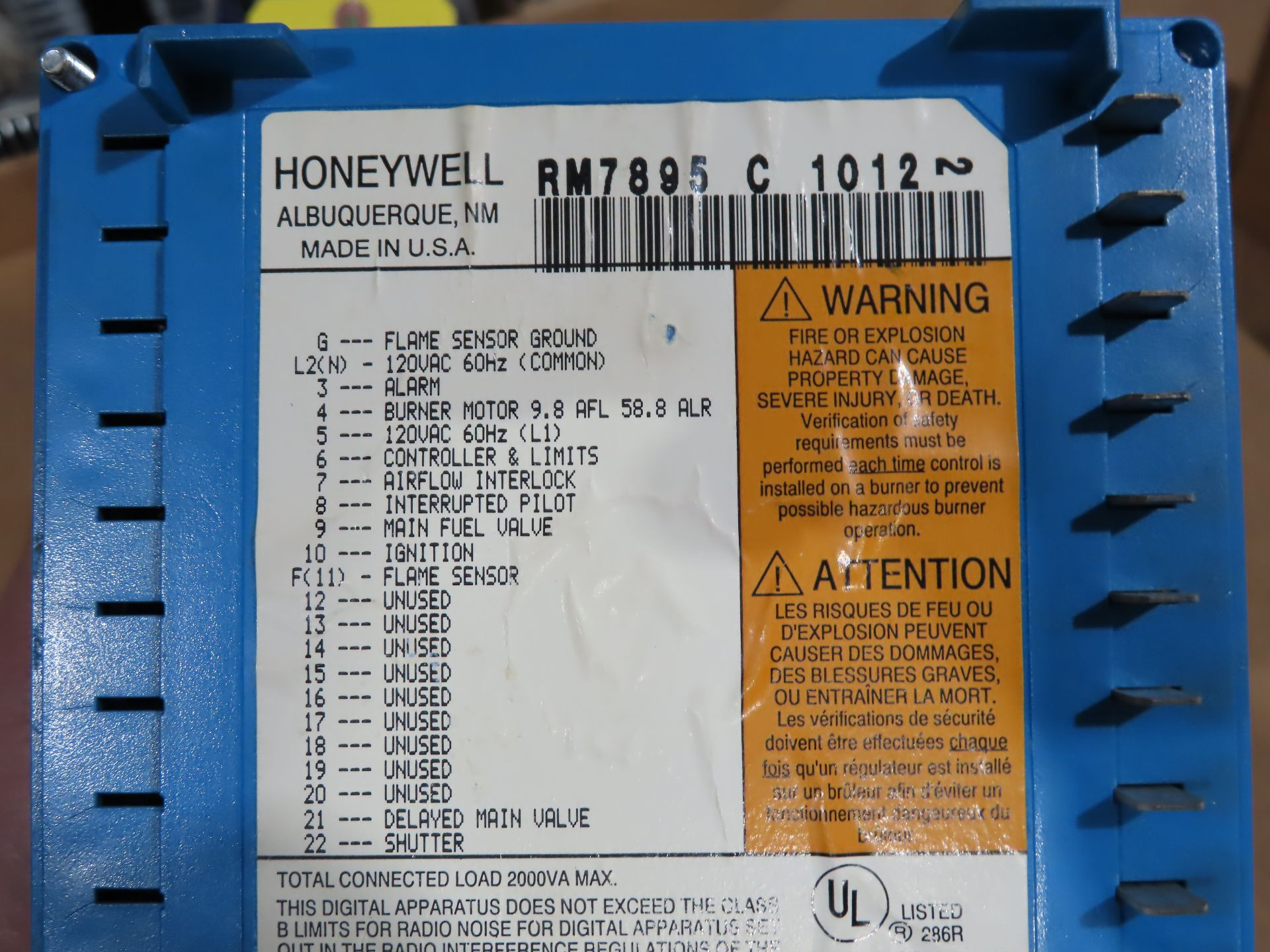 Lot 6 - Honeywell burner control model RM7895-C-1012, used, as always, with Brolyn LLC auctions, all lots