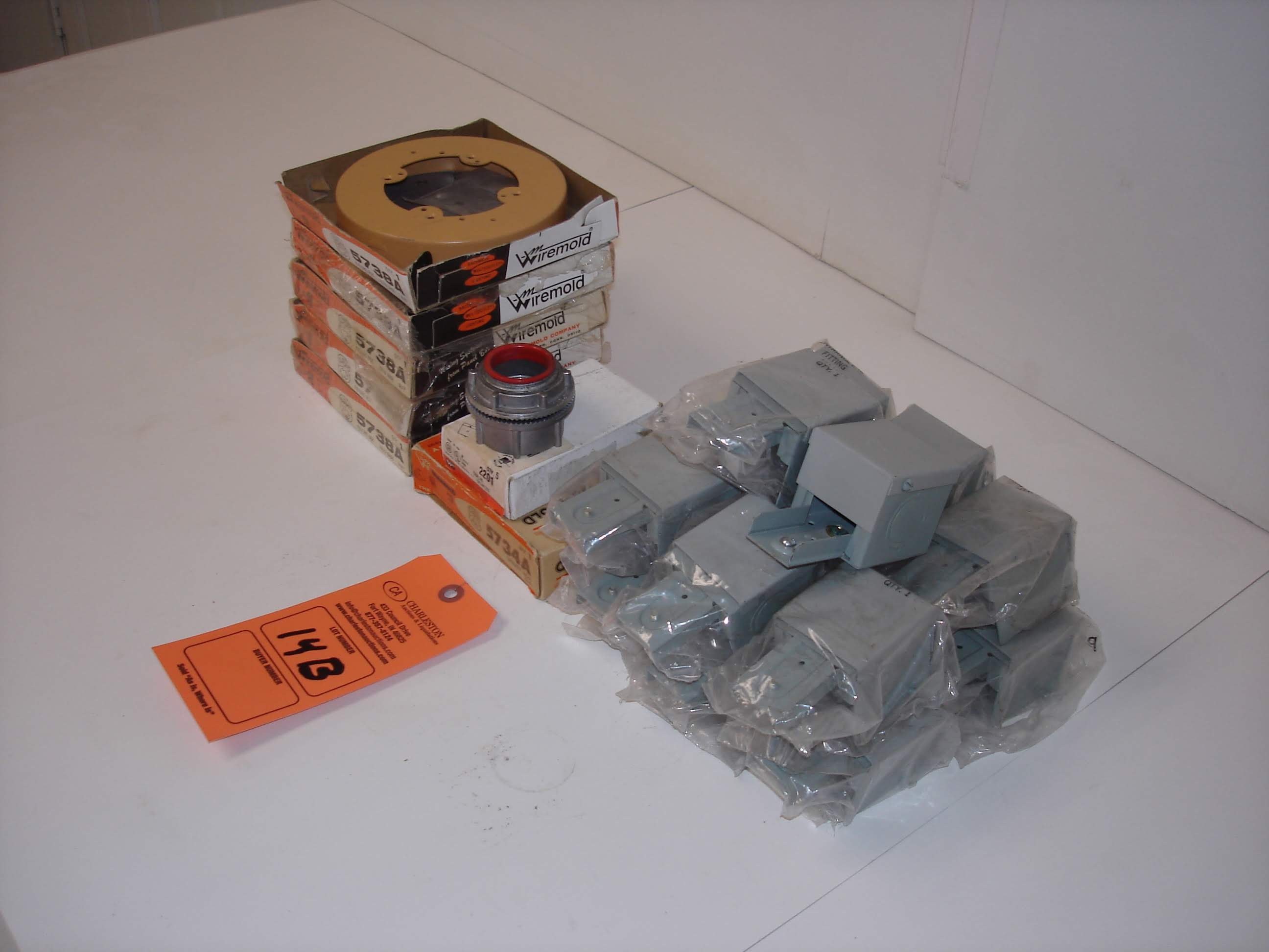 Lot 14B - (20+) MISC WIREMOLD FIXTURE BOXES AND MORE: WIREMOLD 5738A AND ALL OTHER ITEMS INCLUDED IN PHOTOS!