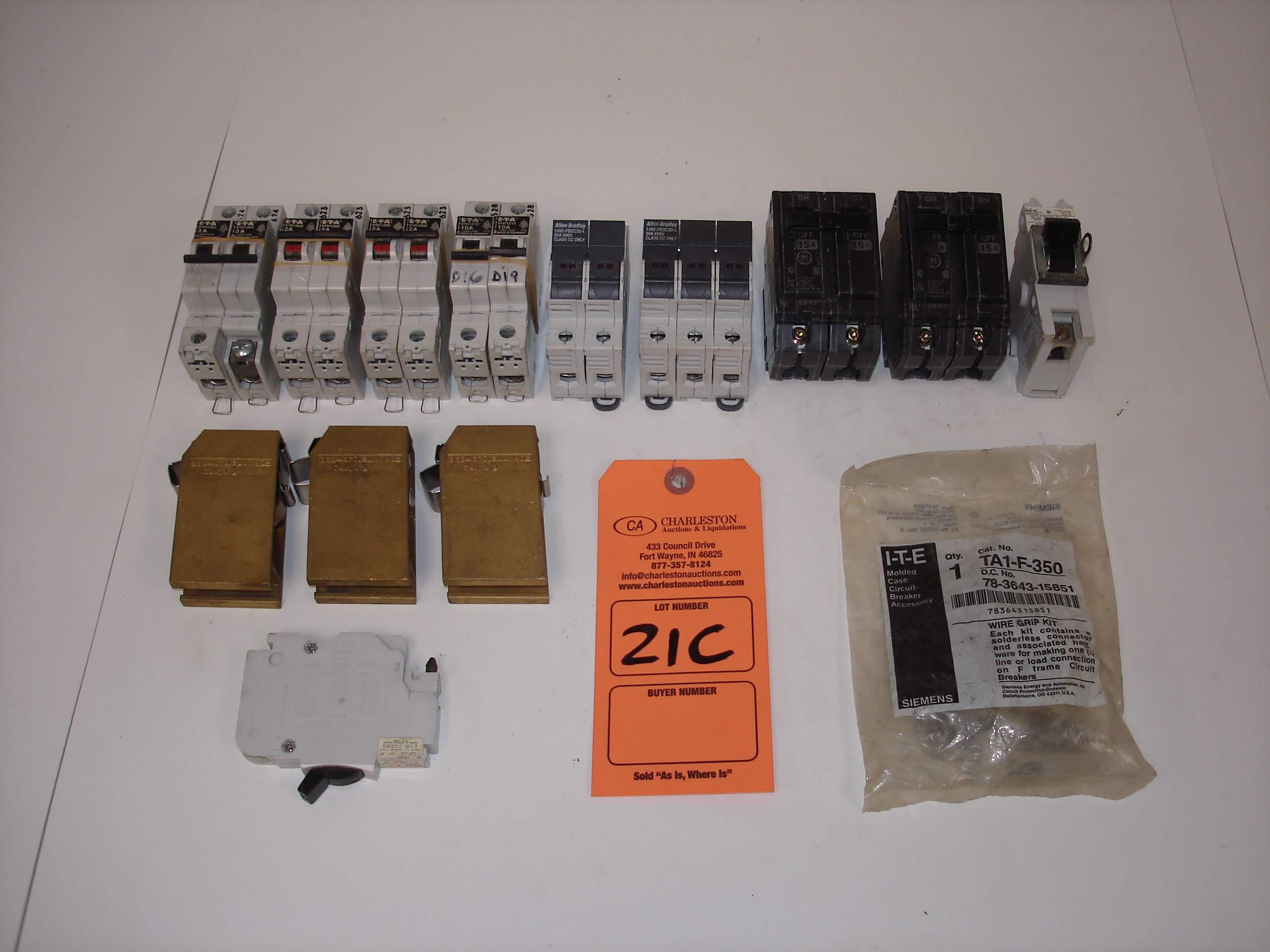 Lot 21C - (18) MISC BRANDED BREAKERS AND MORE: ALLEN BRADLEY 1492-FB3C30-L AND ALL OTHER ITEMS INCLUDED IN