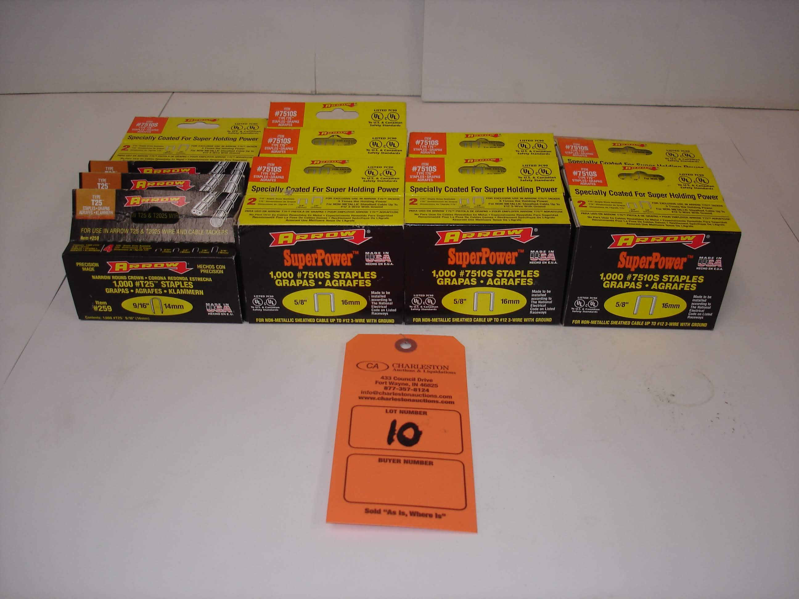 Lot 10 - (13) MISC ARROW STAPLES 1000/BOX: ARROW 7510S AND ALL OTHER ITEMS INCLUDED IN PHOTOS!