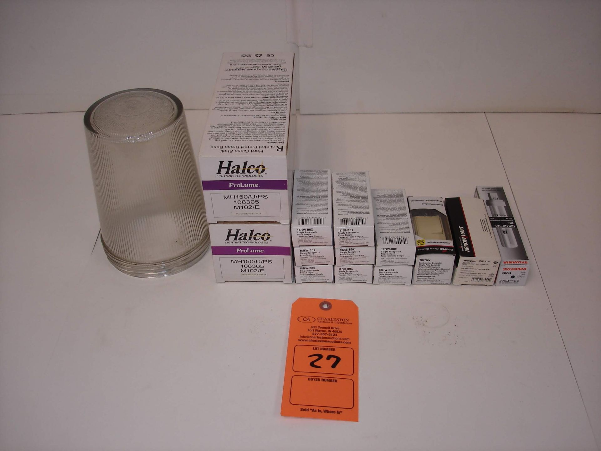 Lot 27 - (14) MISC BRANDED ELECTRICAL COMPONENTS: HAZLUX VGL22 PRISMATIC GLOBE AND ALL OTHER ITEMS INCLUDED
