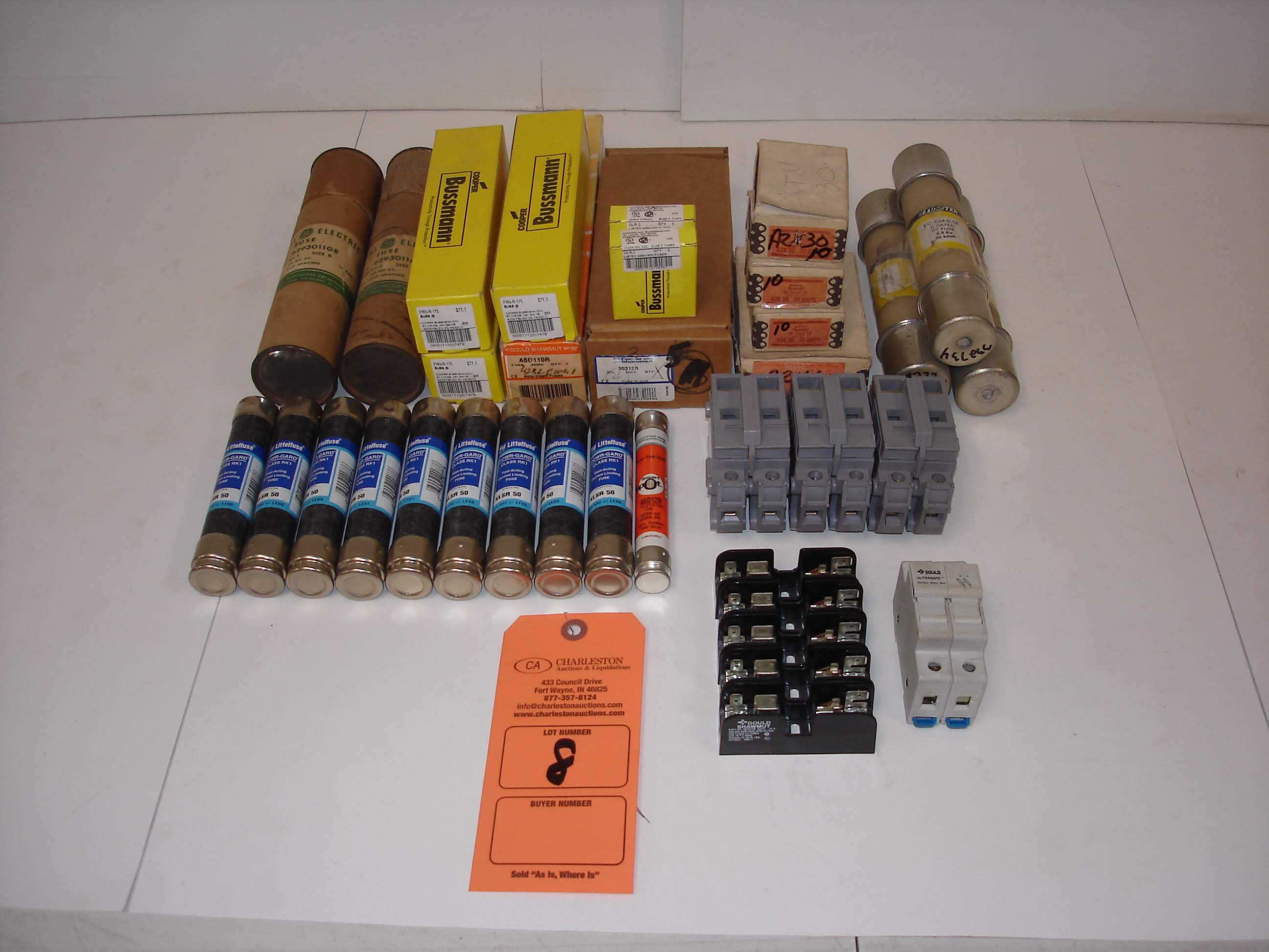 Lot 8 - (50+) MISC BRANDED FUSES AND MORE: BUSSMANN FRN-R-175 AND ALL OTHER ITEMS INCLUDED IN PHOTOS!