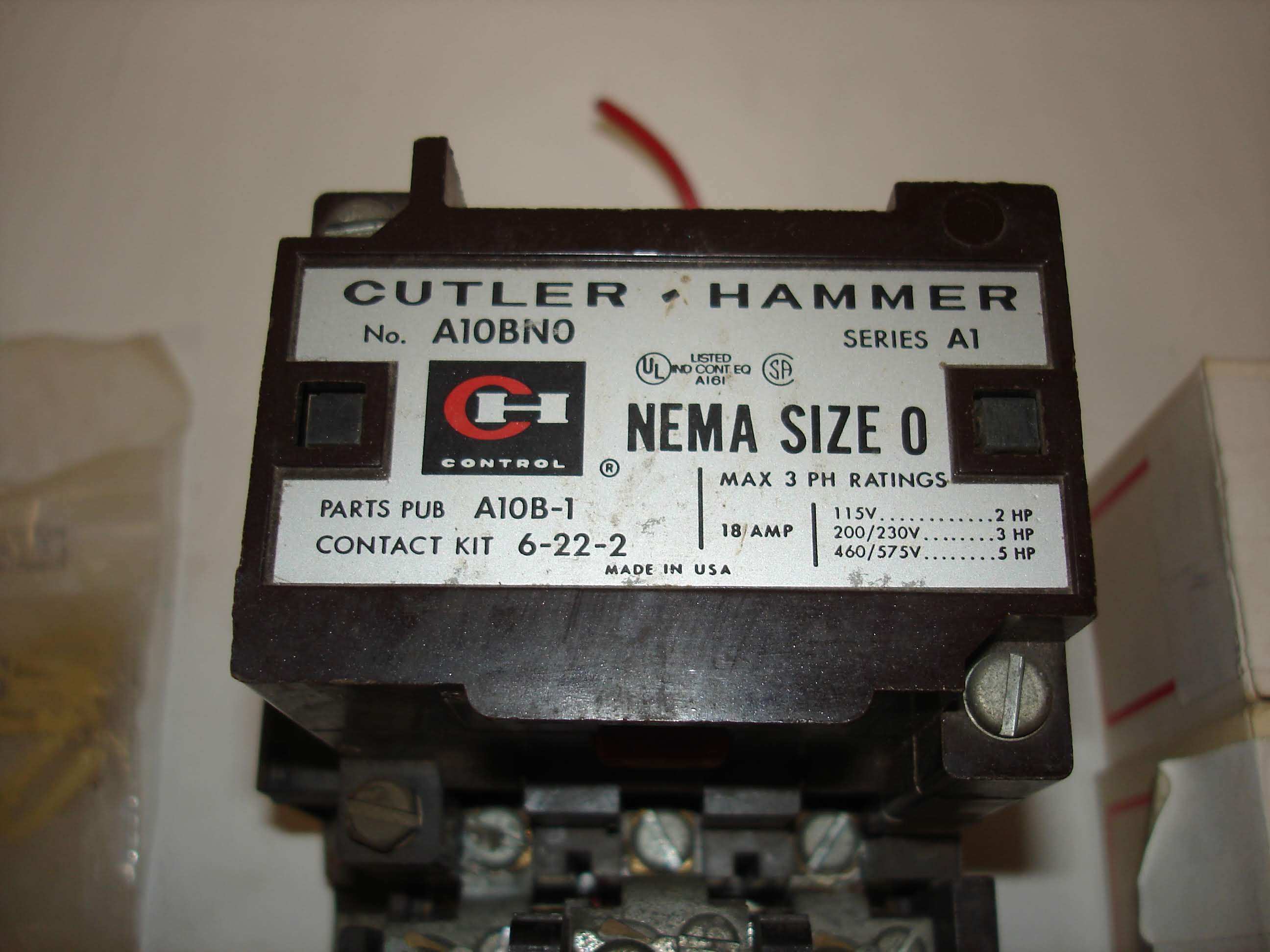 Lot 6 - (20+) MISC BRANDED ELECTRICAL COMPONENTS: CUTLER HAMMER A10BN0 AND ALL OTHER ITEMS INCLUDED IN