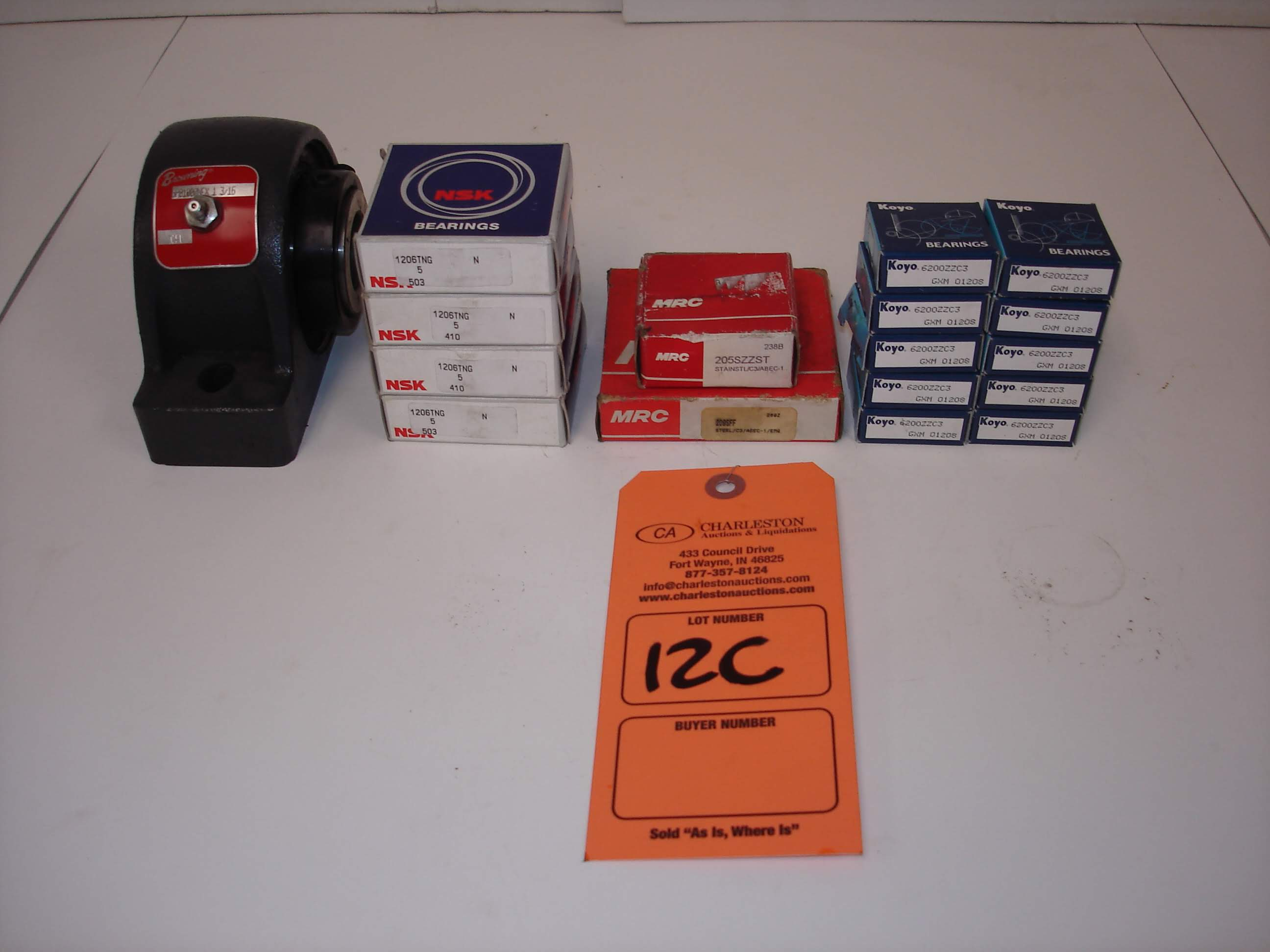 Lot 12C - (17) MISC BRANDED BEARINGS: BROWNING SPB1000NEX PILLOW BLOCK BEARING AND ALL OTHER ITEMS INCLUDED IN