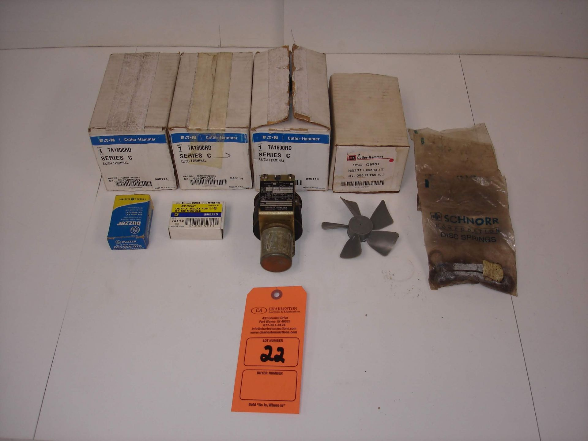 Lot 22 - (10) MISC BRANDED ELECTRICAL PARTS: EATON CUTLER HAMMER TA1600RD AND ALL OTHER ITEMS INCLUDED IN